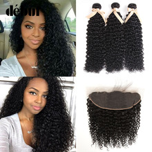 Debut 28 Inch Bundles With Frontal Brazilian Hair Weave Bundles Curly Human Hair With Closure Jerry Curl Hair Bundles For Mom