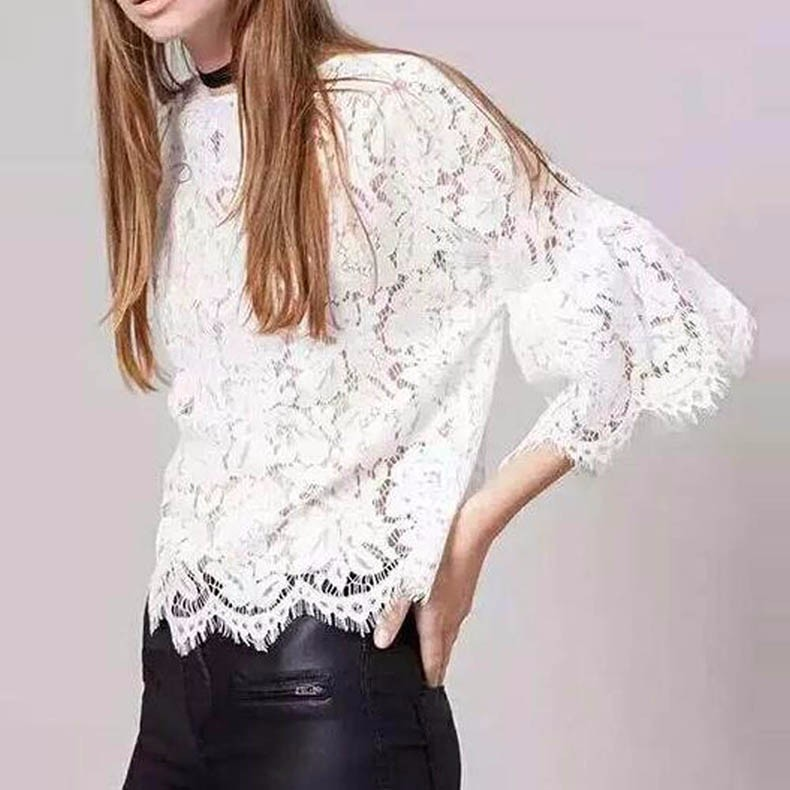Cute-Lace-Crochet-Hollow-Out-Flare-Sleeve-O-Neck-Pullover-Slim-T-Shirt-Fashion-Women-White