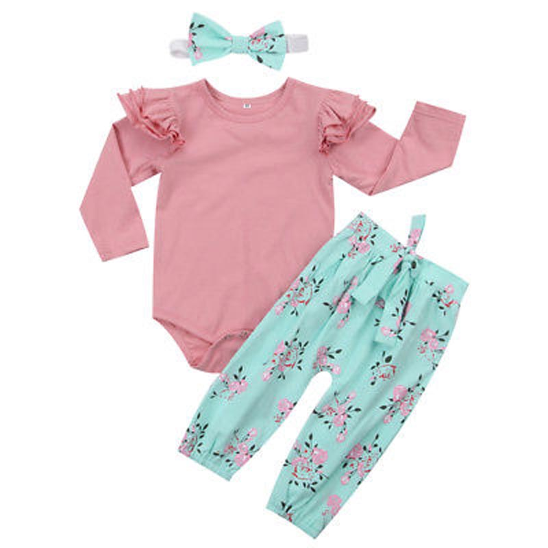 Lovely Baby Girls Infant Floral Outfits Long Sleeve Cotton Clothes Romper +Long Pants 3pcs Set
