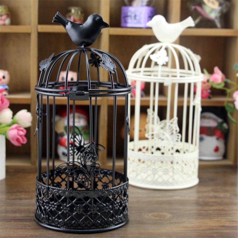 1 PC Tall Large Bird Cage Candlestick Holder Europe Metal Iron Country Style Vintage Retro Tealight Candle Holders Home Decor