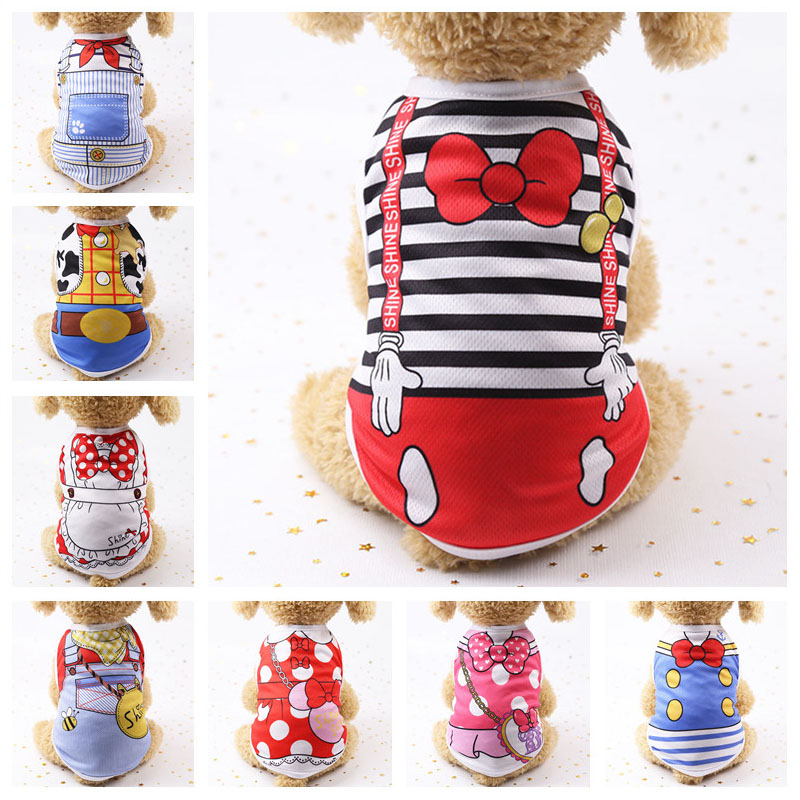 Cotton Pet Clothing Spring And Summer Breathable Dog Clothes Cute Printed Puppy Dog Vest T-shirt For Small & Medium Dogs XS-XL