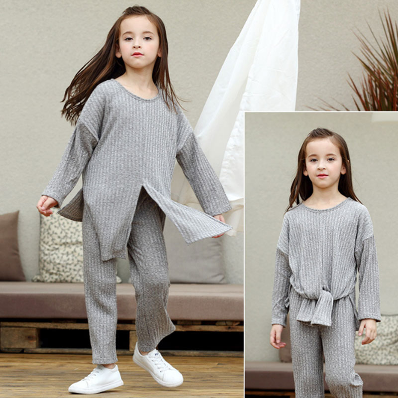 2018 Spring Autumn Kids Girls Knitted Outfit T-shirt + pants 2pcs Toddlers sets Winter Clothing for Teens Age 4 6 8 10 12 13 14T цена