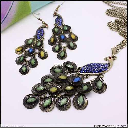 Vintage Style Peacock Jewelry Set Include One Piece Necklace and One Pair Earrings Classics Jewelry #DX01S