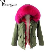 YOUMIGUE coat Women parka autumn Winter Jacket Women Raccoon Fur Collar Lady Parka women Real fox fur feminine Coat female