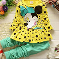 2016 New Fashion Cute Minnie Clothing Set Casual Baby Girls Clothes Kids Clothes Set Kid Children Clothing Ropa Mujer