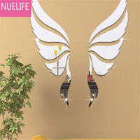 Angel Wings Pattern Acrylic Crystal Stereo mirror Sticker Parlor Bedroom Child Room TV Background Wall Decoration Wall Stickers