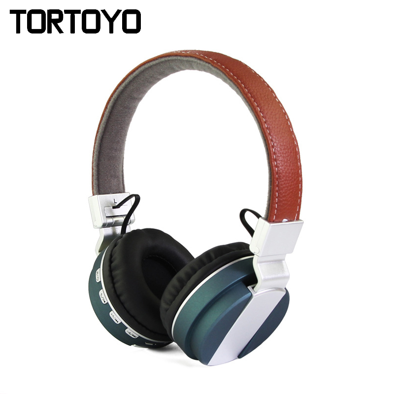 BT-008 Foldable Leather Headband Stereo Metal Wireless Bluetooth Earphone Headset Headphone Support TF Card FM Radio Mp3 Player