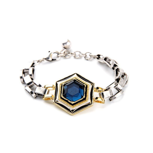 Hot Ing Bracelet Shiny Blue Crystal White Gold Color Generous Newest Egyptian Bracelets For Women Party