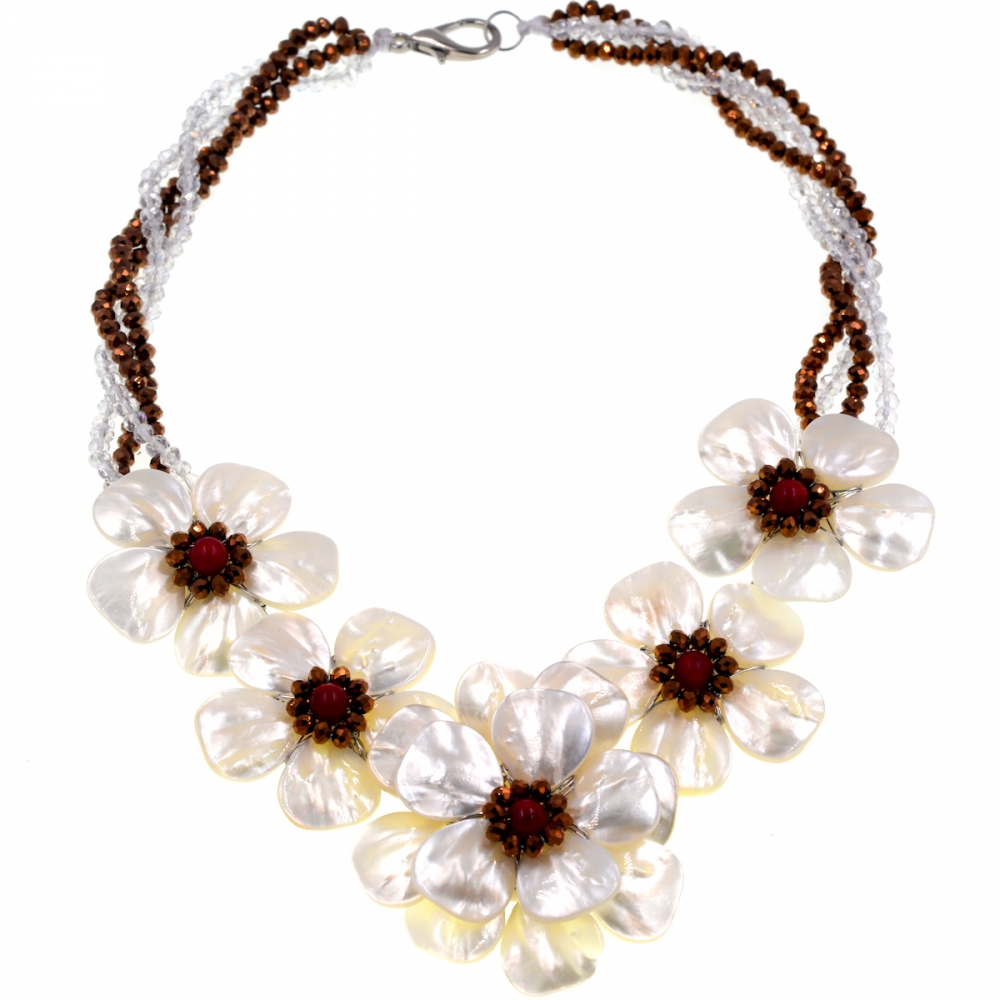 2018 Trendy fashion Natural sea shell brown white crystal flower necklace Fashion Women Jewelry Gift
