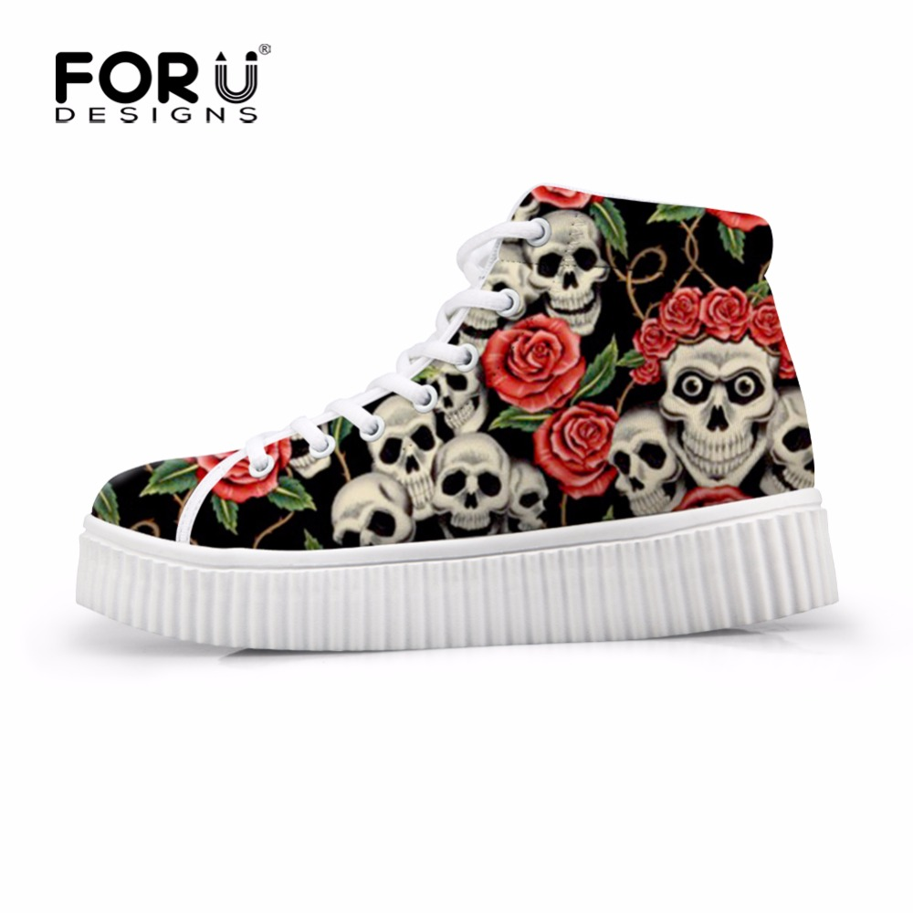 FORUDESIGNS Fashion Skull Brand Designer Women Flat Platform Shoes High Top Casual Shoes for Woman Lace-up Female Boots Shoes real pic high color decorative rivets women casual shoes brand designer lace up comfortable women flats shoes woman