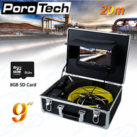 WP90B-20m Rohr Kanalinspektionskamera Wasserdicht IP68 20 Mt Ablauf Industrie Endoskop Video Inspektion System 9 Zoll LCD-Monitor