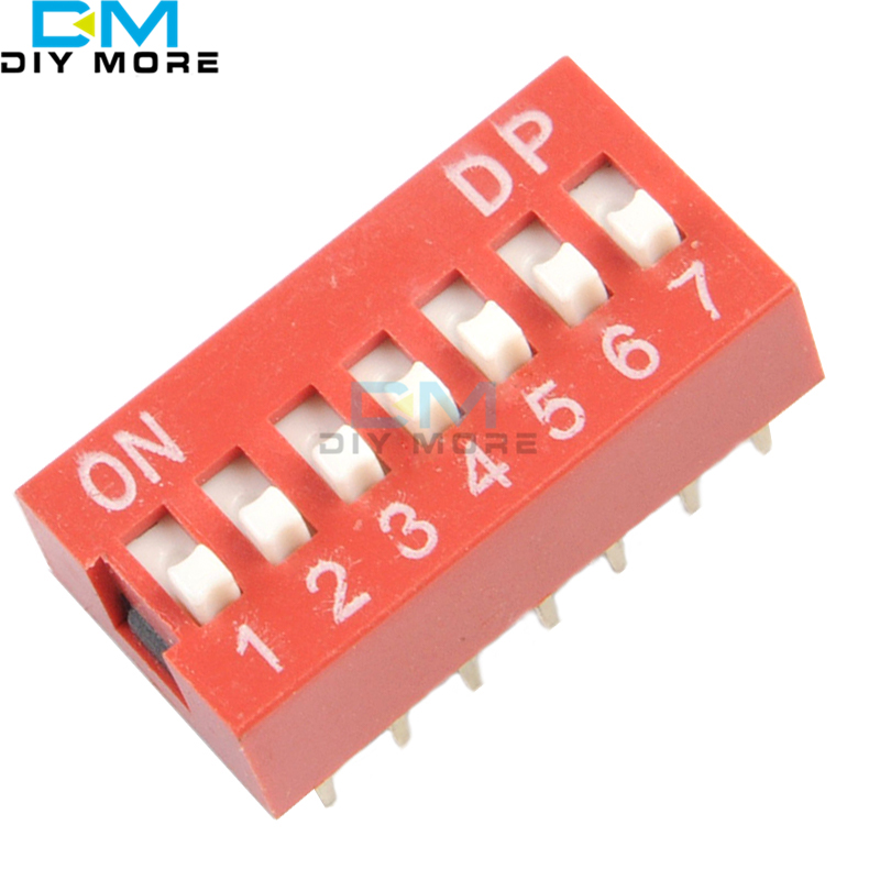 10 шт. слайд Тип модуль коммутатора 2,54 мм 7-бит 7 Положение способ DIP красный шаг