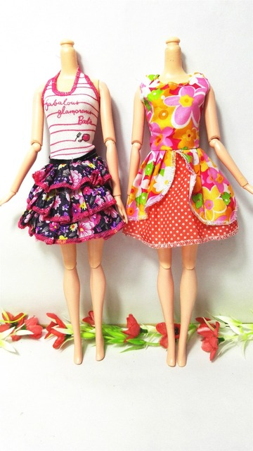 Randomly Pick 14 pcs/lot Doll Clothing Sets Fashionable Clothes Casual Dress Suits For Barbie Doll Dress Best Gift Baby Toys
