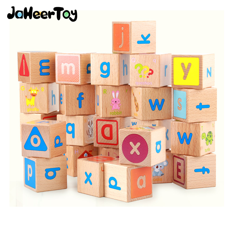 Baby Educational Wooden Toys for Children Building Blocks Wood 3-4-5-6 Years Kids Montessori  Twenty-six English letters Animal free ship 1 set of 100pc children kids natural wooden build blocks montessori sensorial early development educational material