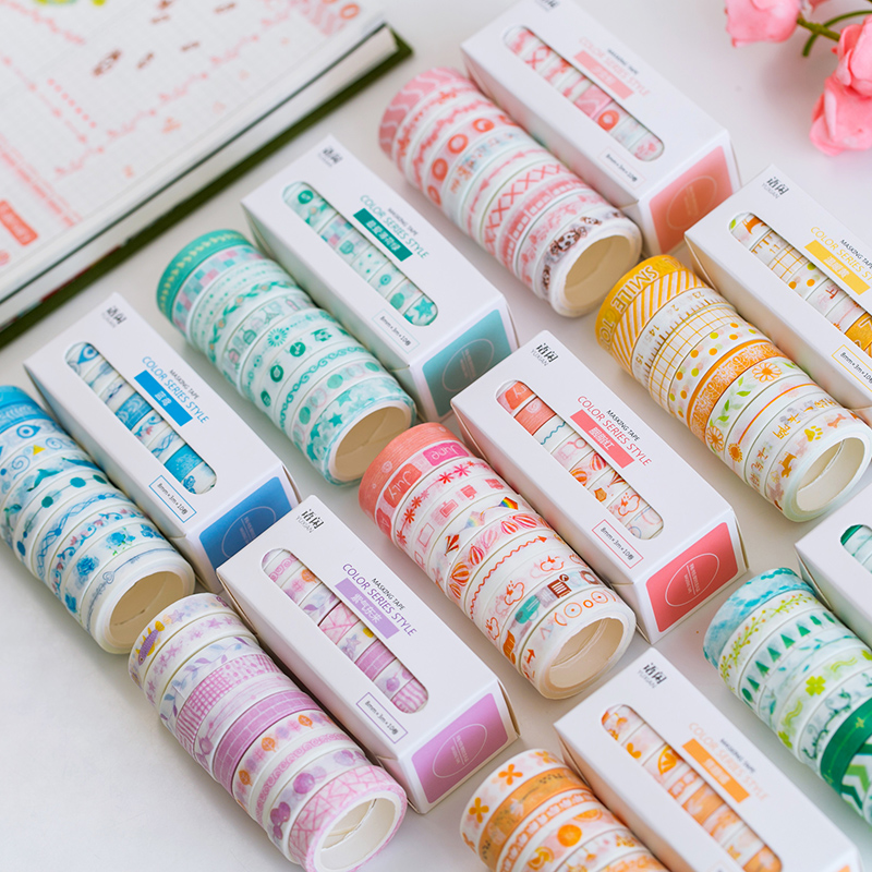 10rolls/set 8mmX3m Basic Washi Tape Pattern Colorful Set Scrapbook DIY Sticker Bullet Journal School Stationery Cute Supplies
