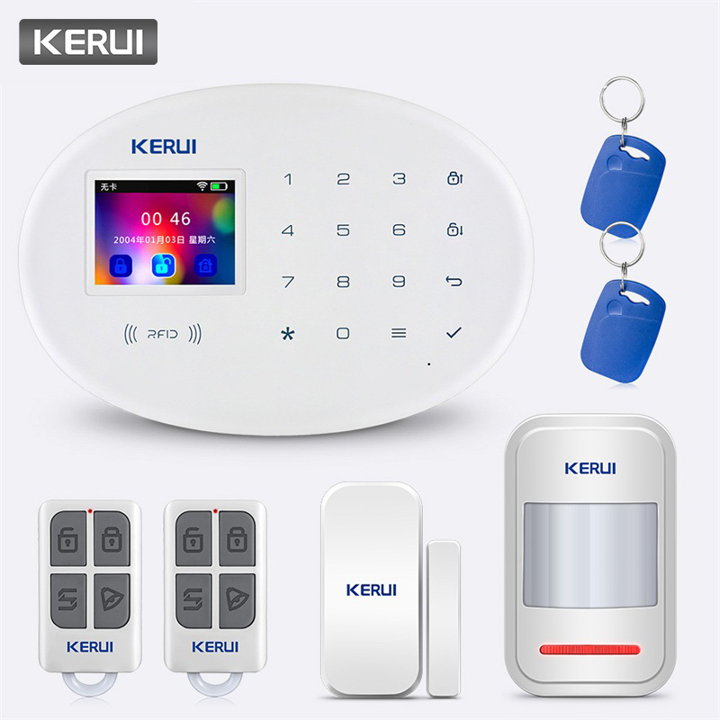 KERUI 2.4 inch Touch Panel APP Control RFID Card 433MHz W20 WIFI GSM Home Security Alarm System Wireless Smart Burglar Alarm KitKERUI 2.4 inch Touch Panel APP Control RFID Card 433MHz W20 WIFI GSM Home Security Alarm System Wireless Smart Burglar Alarm Kit