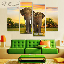 FULLCANG 5d diamond mosaic animals diy painting 4 pcs couples elephant full square embroidery pattern F114