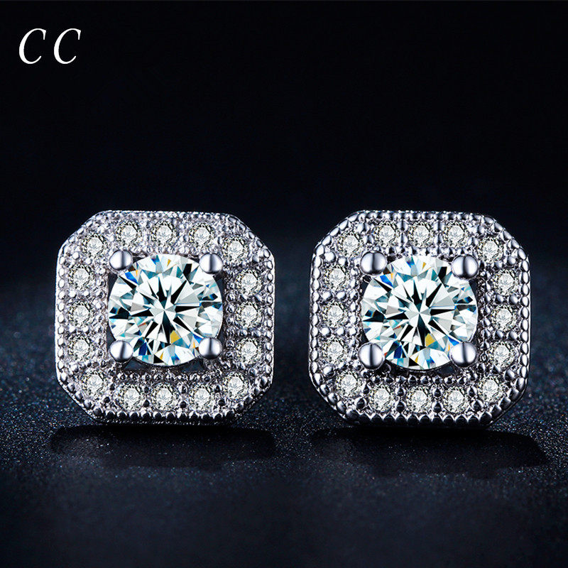 Personality square shaped white gold color stud earrings for women for men with zircon fashion jewelry wholesale CCE035