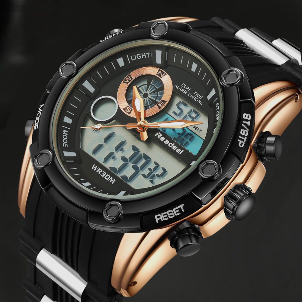 Readeel Heren Horloges Bedrijf Quartz Horloges Heren Rubber Band Digitale Horloges Militaire Sport Horloge Voor Heren Klok relojes