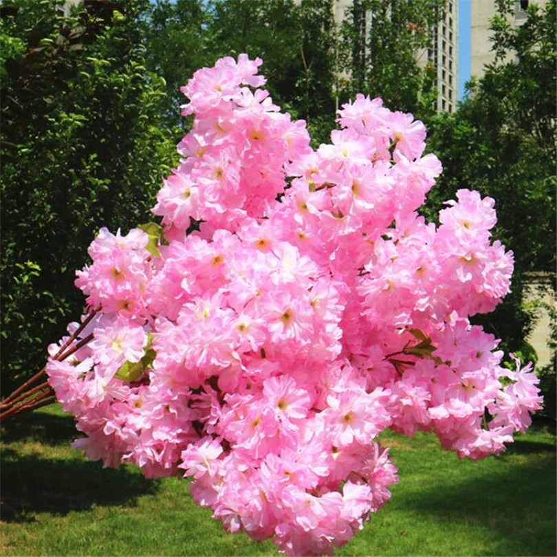 Image 3 - 30p Artificial Waterfall Cherry Blossom Flower Branch White/pink/Champagne Cherry Begonia Sakura Tree Stem with Green Leaf-in Artificial & Dried Flowers from Home & Garden