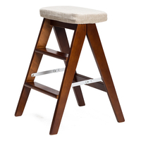 Modern Foldable Wooden Ladder Stool Bench 3 Step Chair Kitchen Furniture Small Footstool With Seat Cushion Household Step Stool