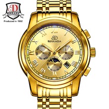 Large Dial Mechanical Watch Date Display Famous Top Brand Gold Royal Men Automatic Watches 2017 Erkek