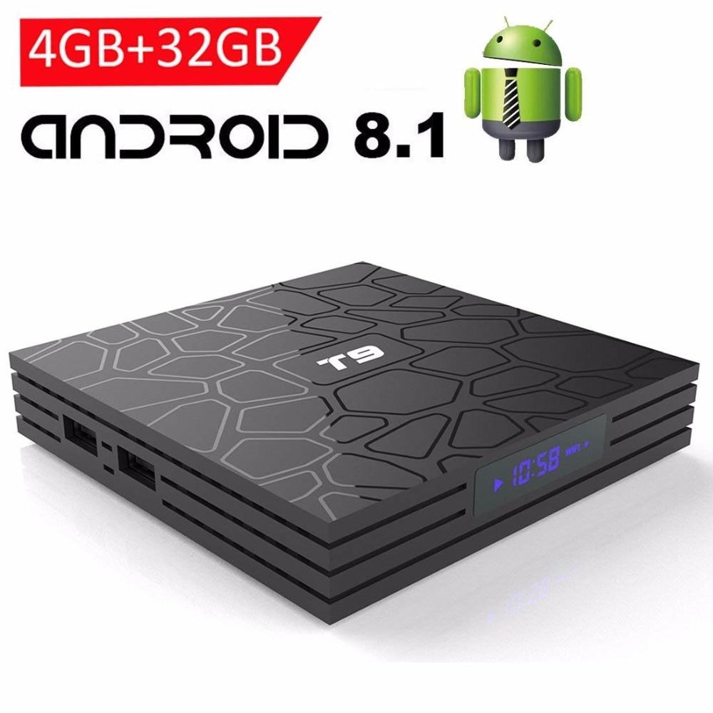 2018 T9 4 ГБ 64 ГБ RK3328 4 ядра Smart Android 8,1 ТВ коробка Bluetooth4.0 H2.65 4 К 2,4 ГГц/5 ГГц WI-FI телеприставки Media Player