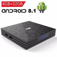 2018 T9 4GB 64GB RK3328 Quad Core Smart Android 8.1 TV BOX Bluetooth4.0 H2.65 4K 2.4GHz/5GHz WIFI Set top box Media Player