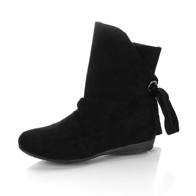 COOTELILI Plus Size Ankle Boots For Women Shoes Lace-Up Ladies Shoes Fashion Rubber Boots Women Winter Shoes Red Black 41 42 43  (5)