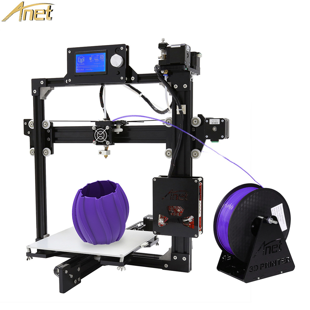Anet A2 3D Printer Easy Assemble Reprap Prusa i3 Kit DIY Black Full Metal with 10m Free Filament Large Printing Size oumily aircraft grade aluminum alloy tactical defense writing pen w white led light rose red