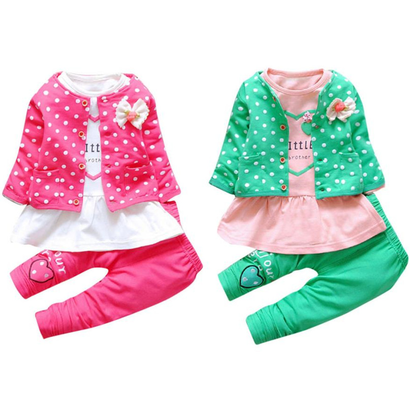2 Colors Lovely Kids Baby Girls Outfit Clothes Dot Bowknot Cardigan Coat+T shirt+Long Pants 1Set drop shipped ST28|girls outfits|baby girl outfitclothes girls - AliExpress