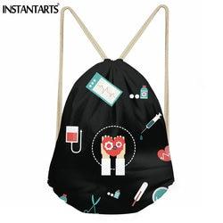 INSTANTARTS damska torba na siłownię pielęgniarka szpital drukowany mały worek z troczkiem dla dziewczynek panie wodoodporne buty Fitness plecak