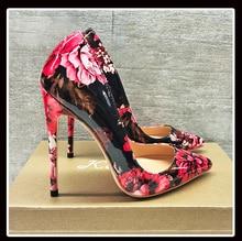 Keshangjia Carollabelly Stylish Women Pumps Elegant Hand Printing Pointed Toe Thin Heels Pumps Plus Size 4 14 Shoes Woman