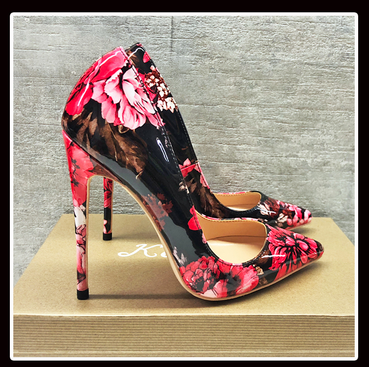 Keshangjia Carollabelly elegante de las mujeres elegante Impresión de Punta Delgada tacones Plus tamaño 4 14 zapatos de mujer Zapatos-in Zapatos de tacón de mujer from zapatos    1