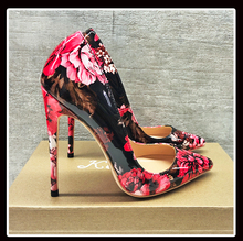 Keshangjia Carollabelly אופנתי נשים משאבות אלגנטי יד הדפסה מחודדת הבוהן דק עקבים משאבות בתוספת גודל 4 14 נעלי אישה