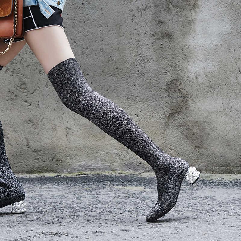 Prova Perfetto 2018 Moda Bling Kristal Yüksek Topuk Çorap Çizmeler Kadın Diz Üzerinde Uyluk Yüksek Çizmeler Bayan Örgü Streç çizmeler