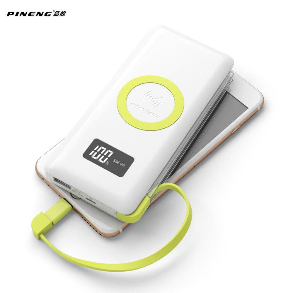 imágenes para PINENG 10000 mAh Banco Móvil Portable de La Batería externa de Carga Inalámbrica Rápida Luz Incorporada Con WPC Q Estándar Para El Iphone