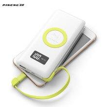 PINENG 10000 mAh Banco Móvil Portable de La Batería externa de Carga Inalámbrica Rápida Luz Incorporada Con WPC Q Estándar Para El Iphone