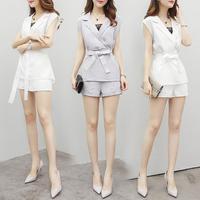 2017 Summer Woman Shorts Sleeveless Sets Temperament Slim Was Thin Fashion Suit Two Piece Shorts Women