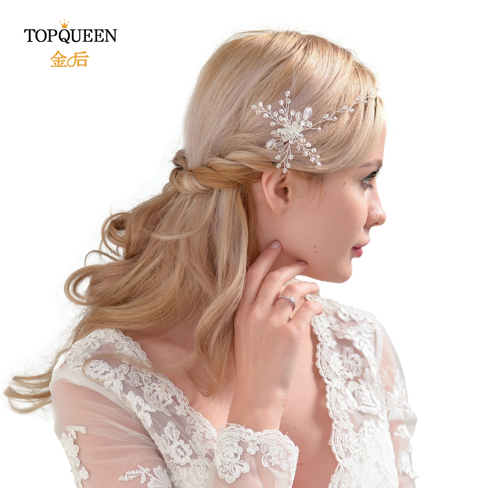 TOPQUEEN HP25 Wedding Elegant Accessories Bridal Double Hair Comb With Crystal Beaded Handmade Women Fashion Women's Accessories