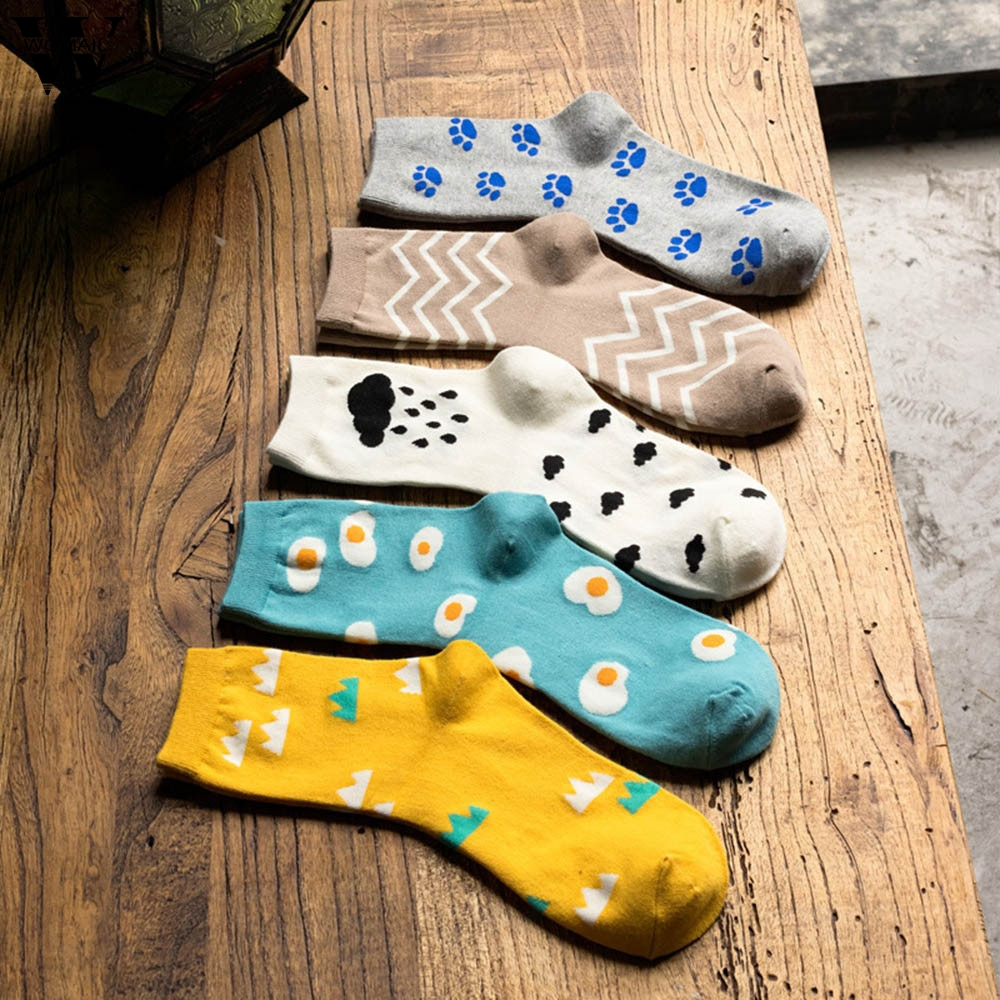 Womail Socks Women's Colorful Autumn Fashion Socks Print Casual Taste Cotton Socks Happy Gift Fashion NEW 2019 Dropship M25