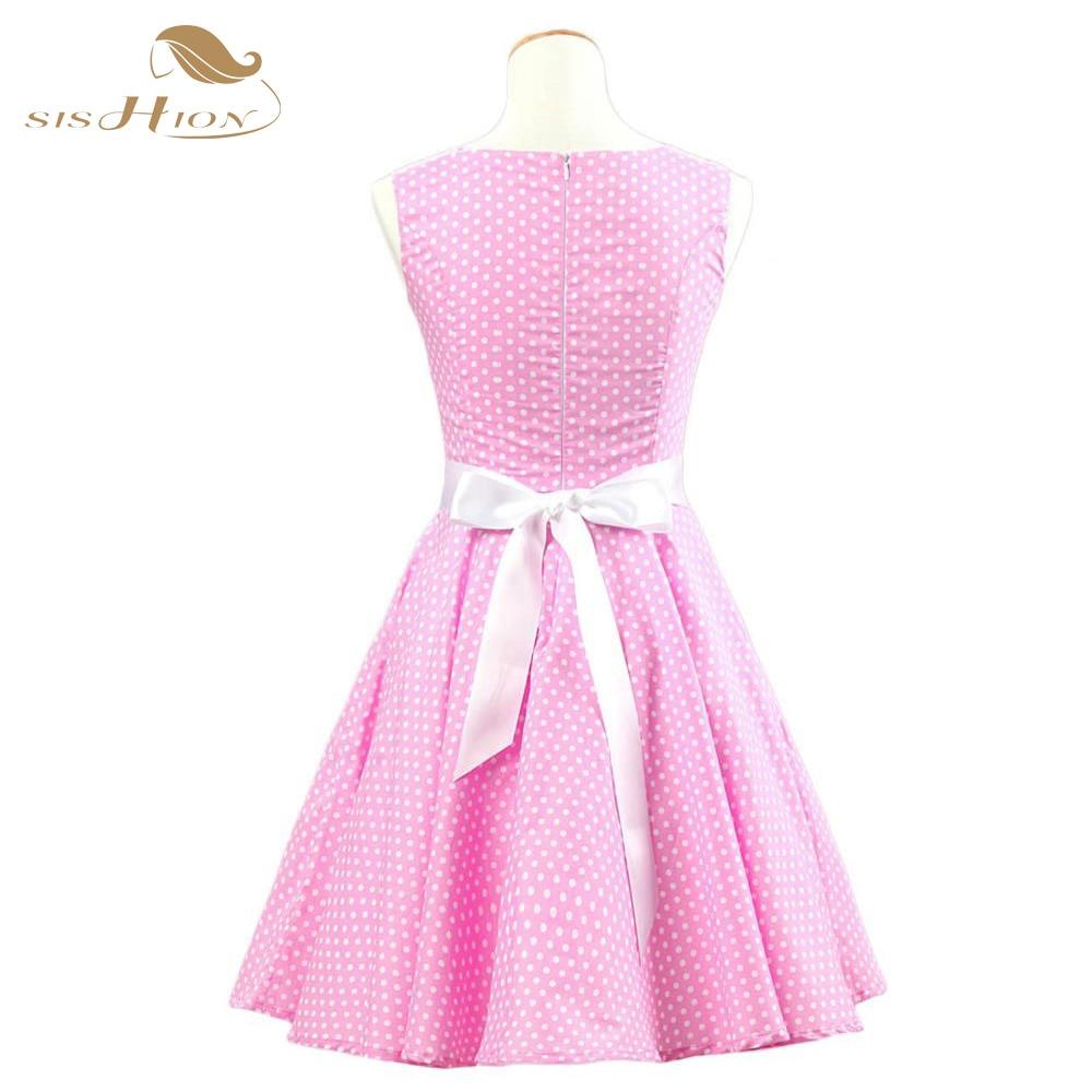 Fashion 50 s 60 s Polka Dot Vintage vestido Rockabilly Retro algodón ...