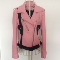 Paris Fashion Ladies Leather Jacket Spring And Autumn Pink Leather Coat Women Short Slim Long Sleeve