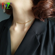F.J4Z 100% Real S925 Sterling Silver golden polished Necklace Fashion link chain choker For Women