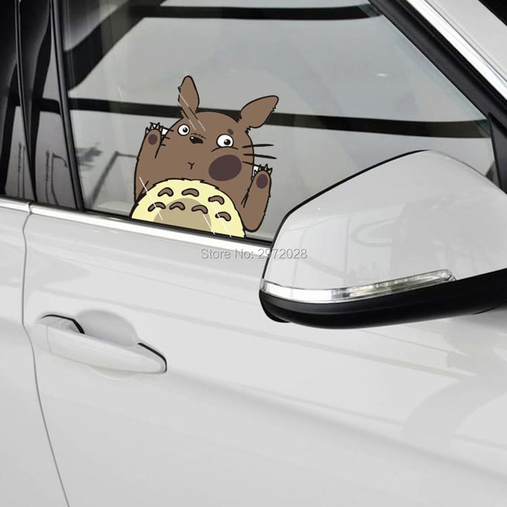 Newest Lovely Cartoon Warning Car Styling Cat Totoro Hitting The Glass Car Windows Rear Windshield Stickers Decal Vinyl