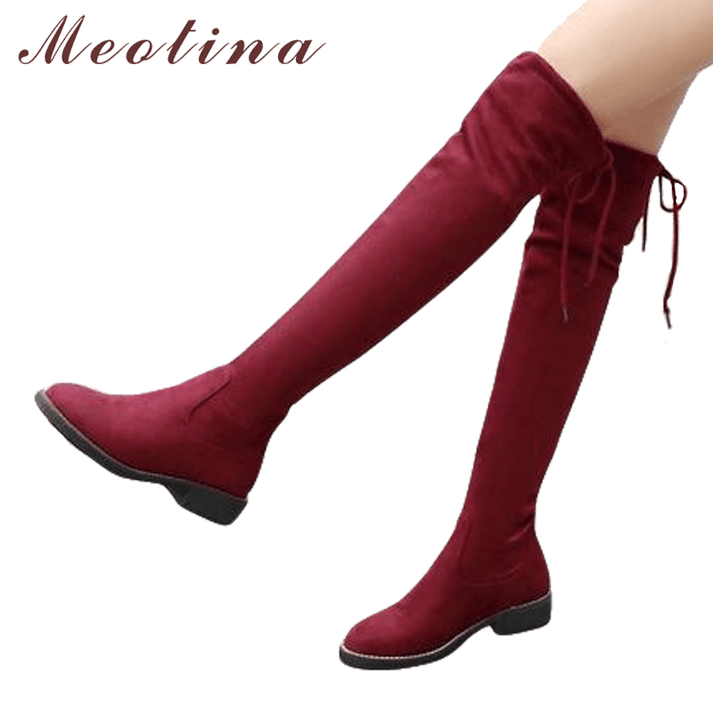 Meotina Thigh High Boots Women Low Heels Over the Knee Boots 2018 Stretch Fashion Boots Female Autumn Shoes Big Size 34-43 Black alfani new black women s size small s mesh back high low ribbed blouse $59 259