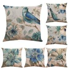 Наволочка птица с цветочным принтом Лен Европейский Стиль смешанные Чехлы синий размером 45*45, декоративная Cojines Decorativos Para диван#5