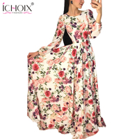 Autumn Fashion Flowers Printed Long Dresses Women Vogue Boho Vintage Floor Length Dress Autumn New Retro