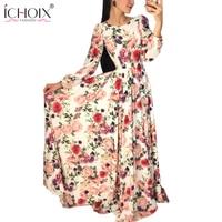Autumn Fashion Flowers Printed Long Dresses Women Vogue Boho Vintage Floor Length Dress Autumn New Retro