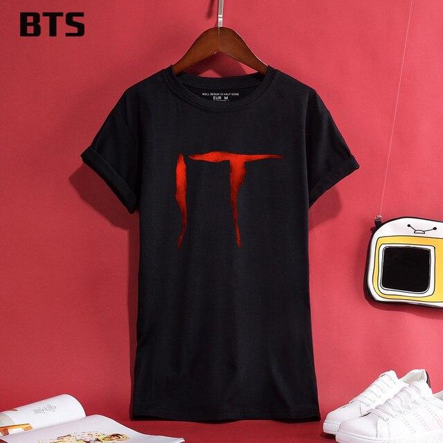 9c14114b4d69b BTS Stephen King s It Halloween T-shirt Women High Quality T Shirt Women  Short Creative Hot Sale Cute Tee Shirt Women Plus Size